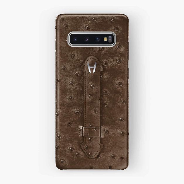 Ostrich Finger Case Samsung S10 | Tobacco - Stainless Steel without-personalization