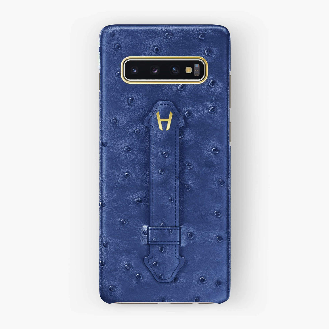 Ostrich Finger Case Samsung S10 | Blue - Yellow Gold without-personalization