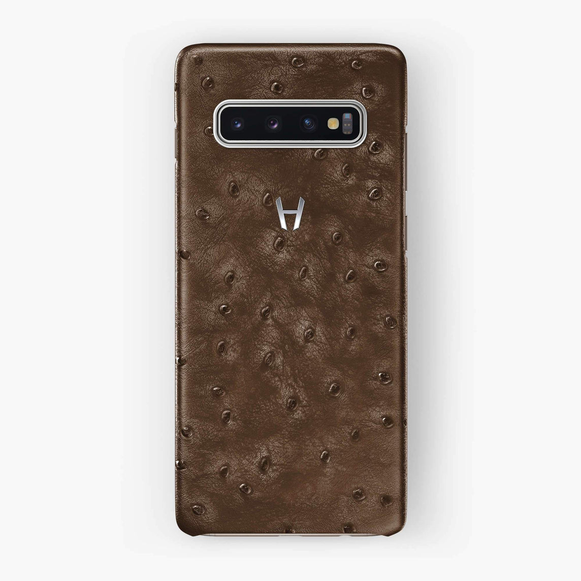Ostrich Case Samsung S10 Plus | Tobacco - Stainless Steel