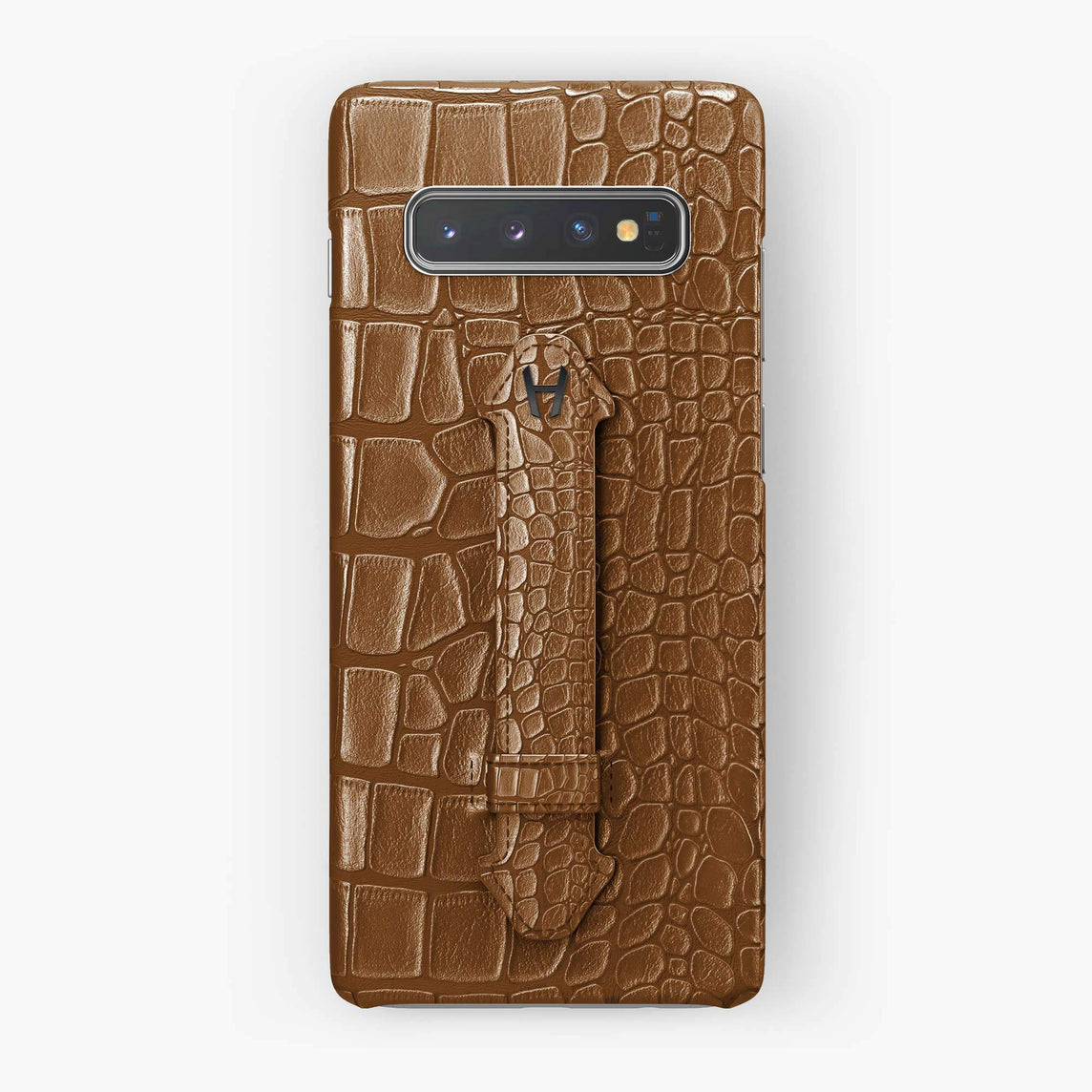 Alligator Finger Case Samsung S10 Plus | Cognac - Black