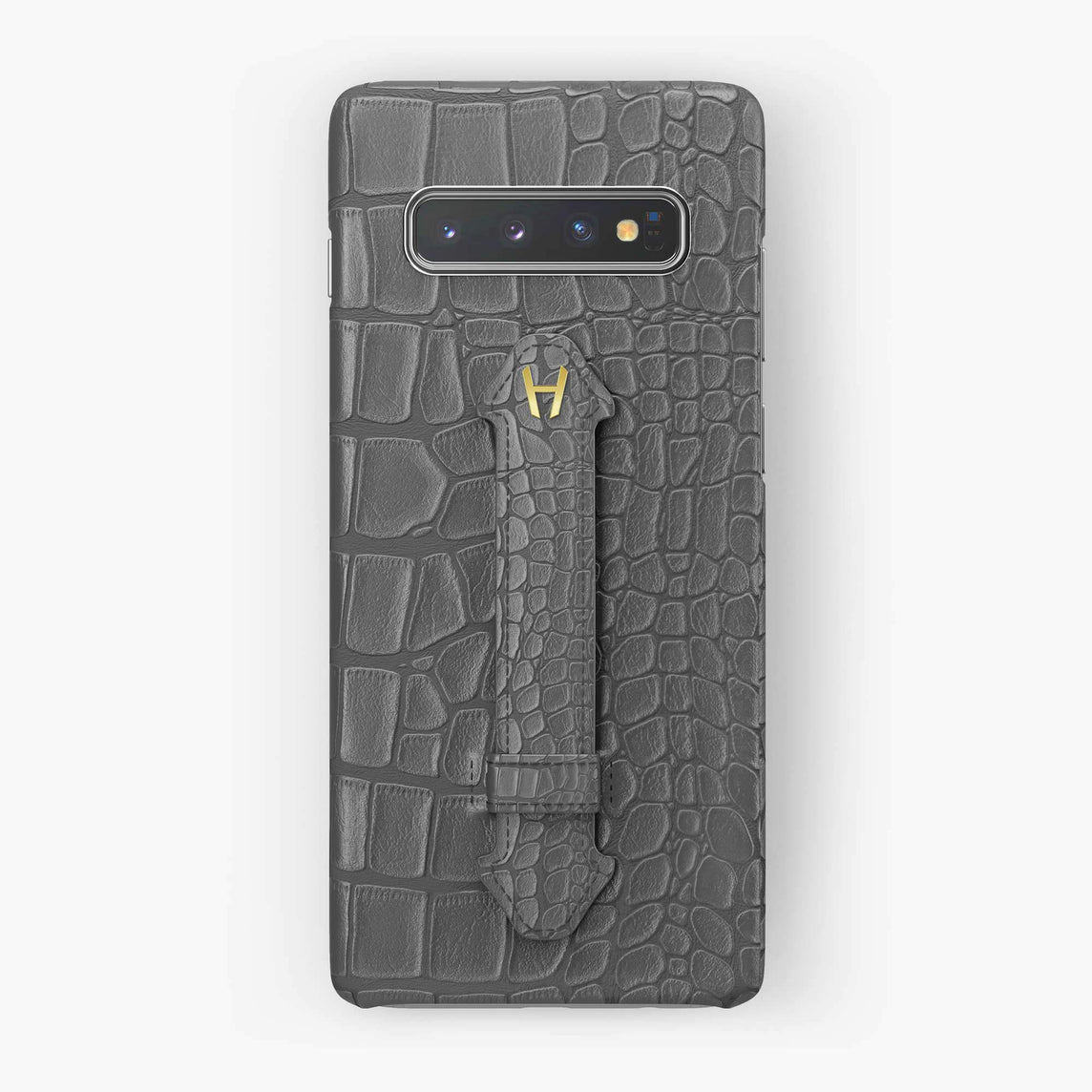 Alligator Finger Case Samsung S10 Plus | Grey - Yellow Gold
