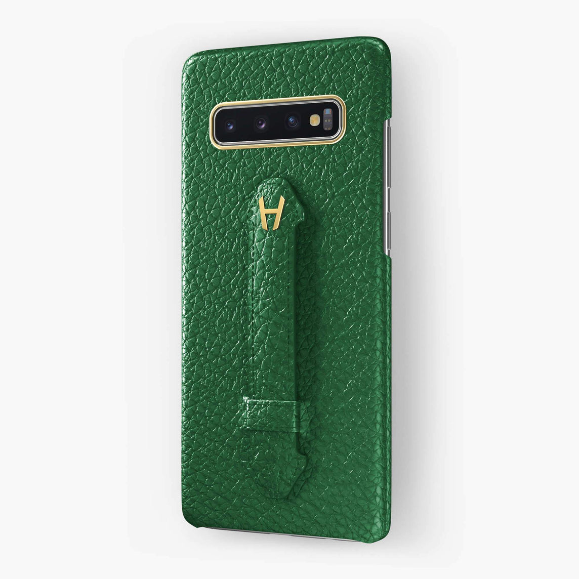Calfskin Finger Case Samsung S10 Plus | Green - Yellow Gold