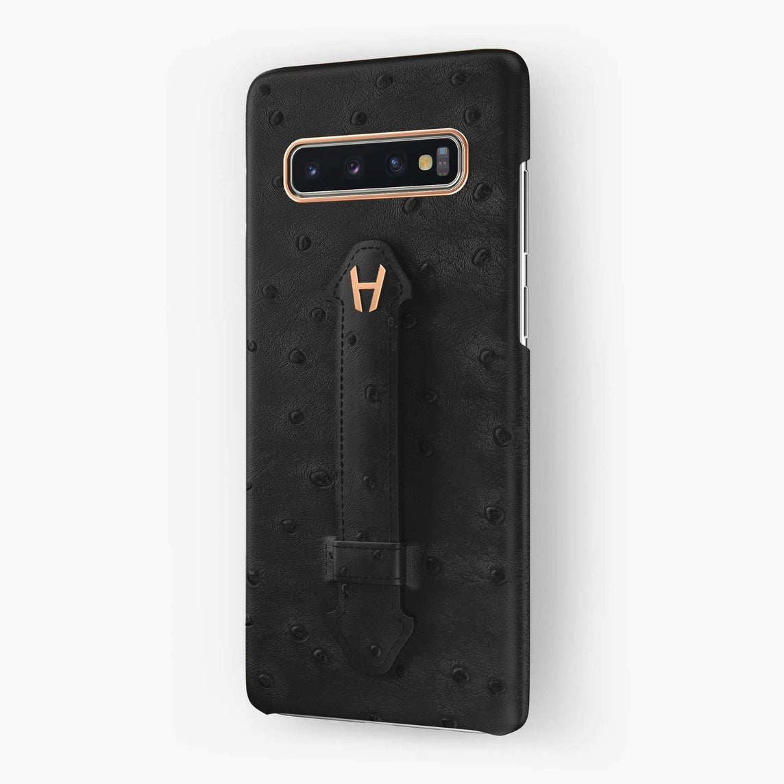 Ostrich Finger Case Samsung S10 Plus | Grey Anthracite - Rose Gold without-personalization