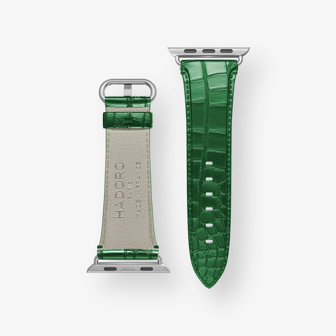 Alligator Apple Watch Strap 42mm-44mm | Green - Stainless Steel