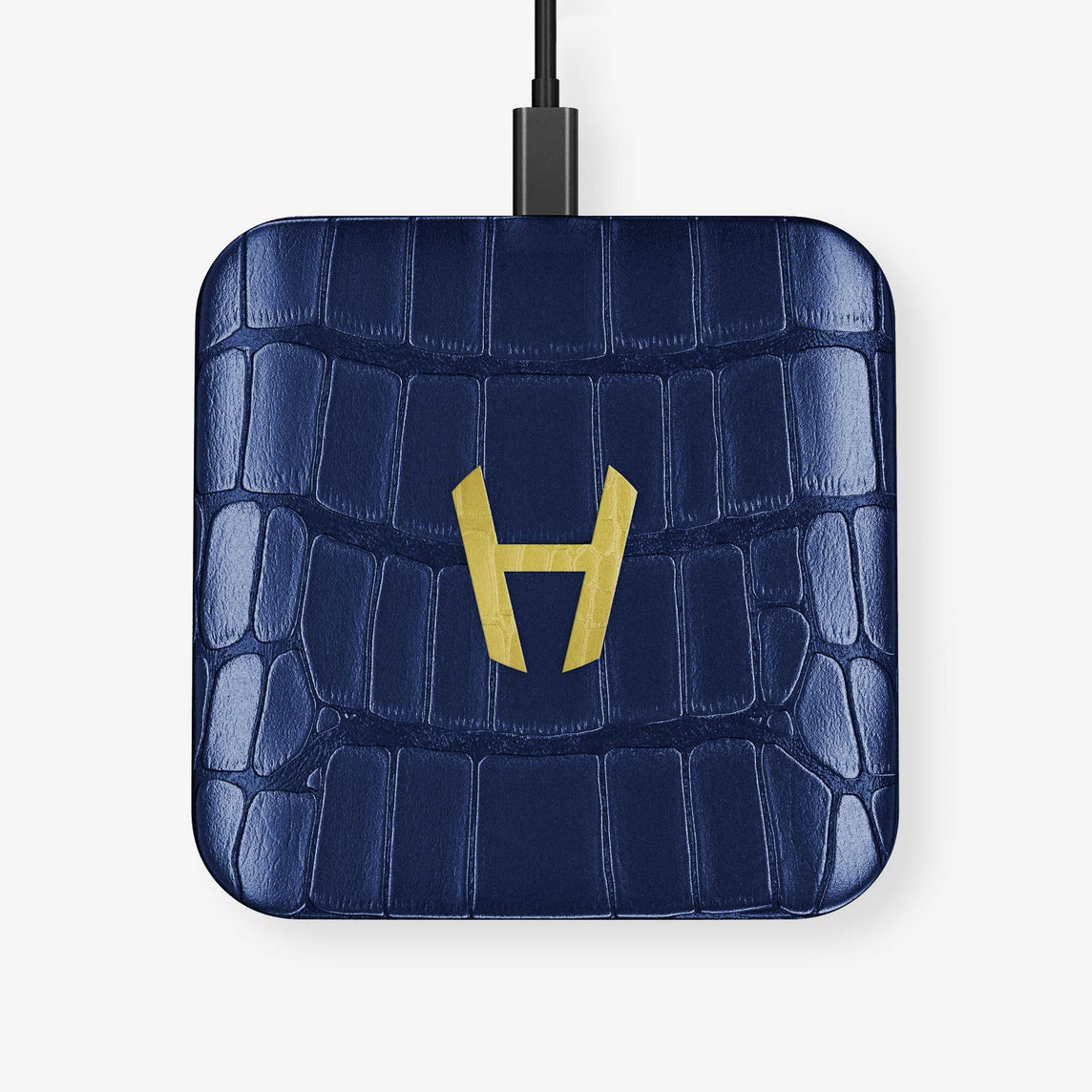 Alligator Hadoro Wireless Charging Pad | Navy Blue - Yellow Gold without-personalization