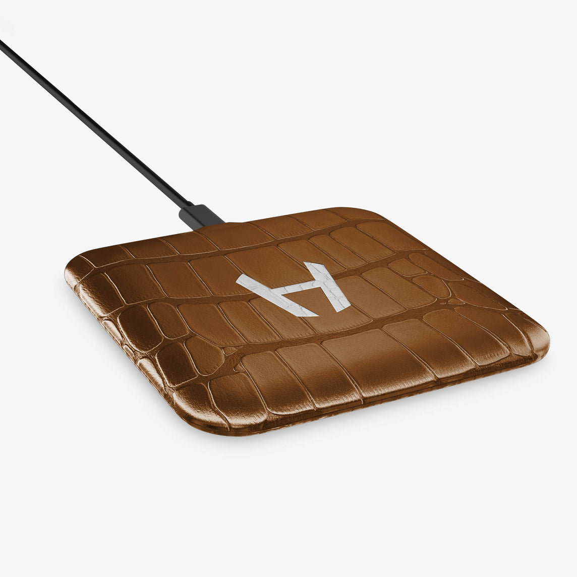 Alligator Hadoro Wireless Charging Pad | Cognac - Stainless Steel without-personalization