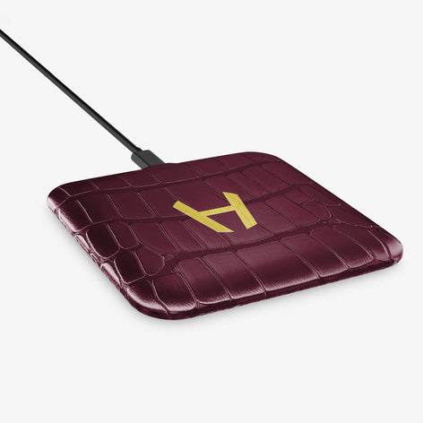 Alligator Hadoro Wireless Charging Pad | Burgundy - Yellow Gold without-personalization