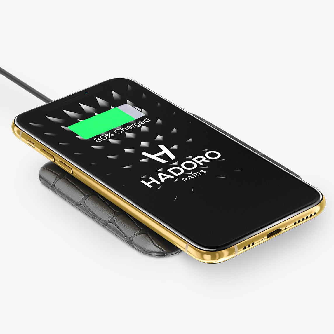 Alligator Hadoro Wireless Charging Pad | Grey - Yellow Gold without-personalization