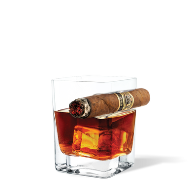 Corkcicle Cigar Glass holds enables you to hold your whiskey, bourbon or other cocktail and your cigar in the same hand