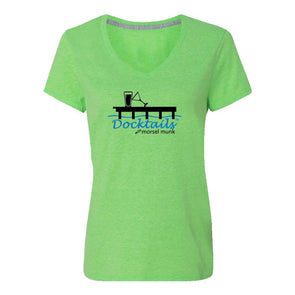 Women's Docktails green t-shirt, perfect for tiki bars and beach bars