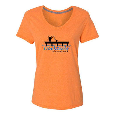 Docktails women's t-shirt in Sunset Orange, the perfect tee for sunset cocktails on your dock or at your favorite beach bar