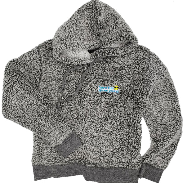 Have Fun Grow Young Sherpa Hoodie Pullover in Frosty Grey