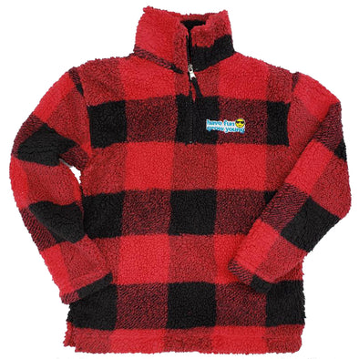 Have Fun Grow Young Sherpa Quarter Zip Pullover in Red and Black Buffalo Plaid