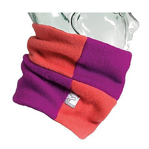 Turtle Fur Kids Rubix Neck Warmer in Berry and Papaya