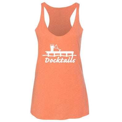 Docktails Ladies Racerback Tank in Coral Crush, perfect for beach bars and seafood shacks and any outdoor activities