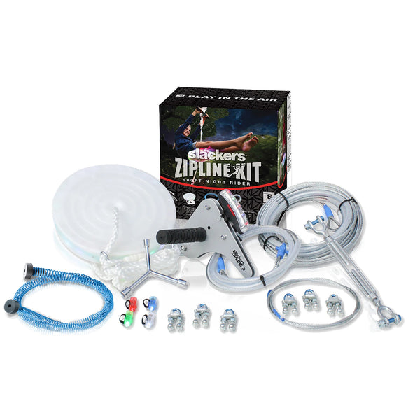 Slackers 100' Zipline Night Riderz Kit With Free Spring Brake Kit