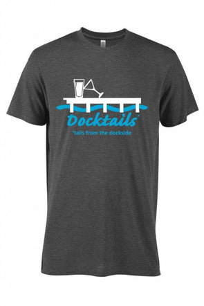 Men's Docktails cocktail party t-shirt in charcoal heather with our tales from the dockside logo, perfect for beach days and beach bars