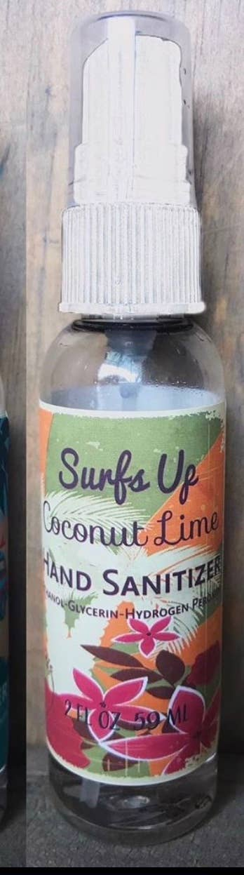 Coconut Lime hand sanitizer with ethyl alcohol from Surf's Up Candle company