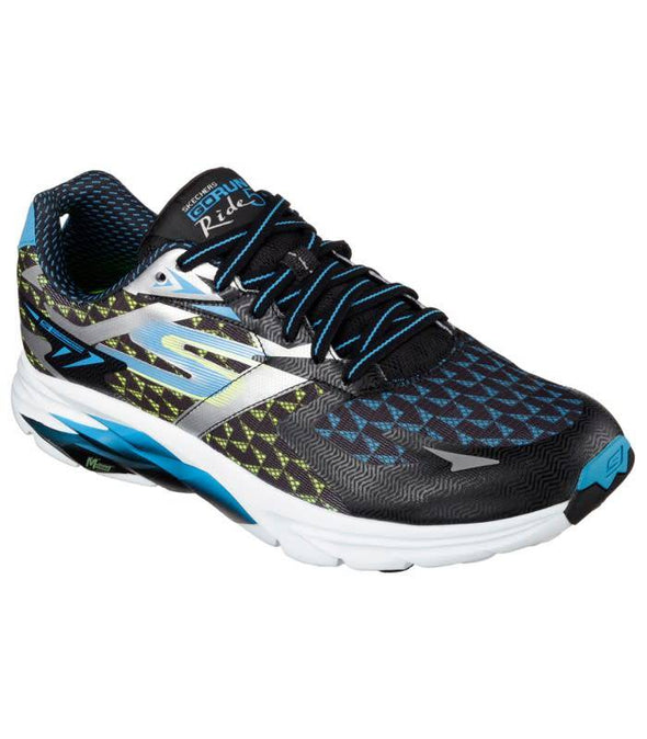 Skechers men's go run ride 5 shoes in black and blue