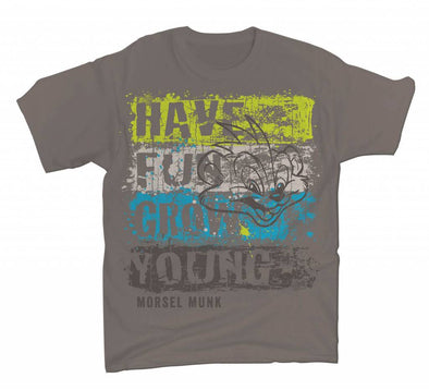 Have Fun Grow Young distressed stripe grey t-shirt