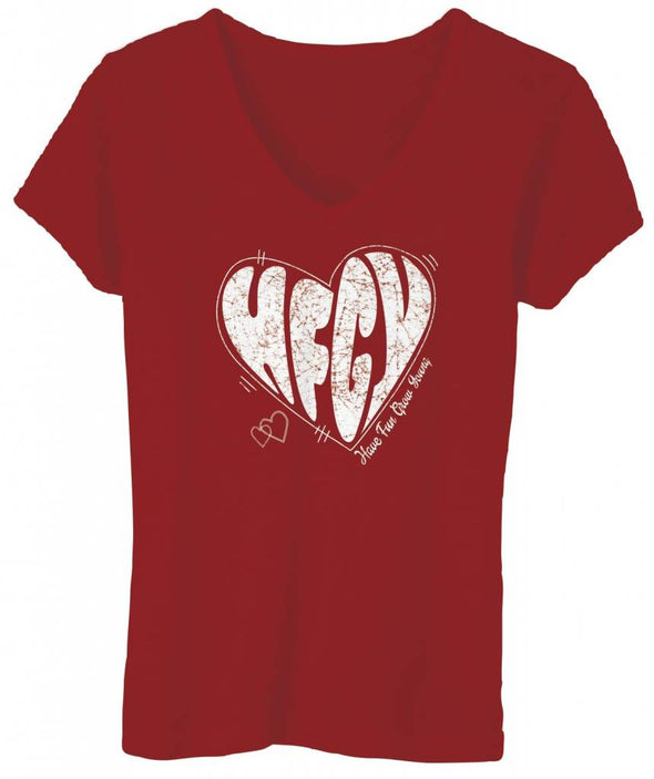 Have Fun Grow Young women's v-neck red heart t-shirt