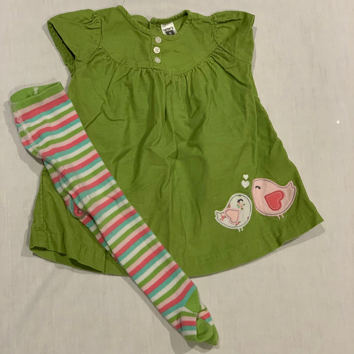 Carters corduroy dress with tights Size 9M