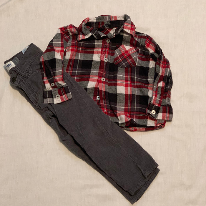 George plaid shirt Old navy cords Size 3T