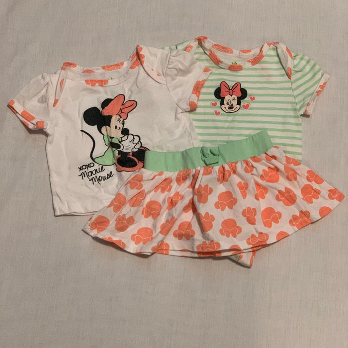 Disney 3 piece onesie shirt skirt size 3-6M