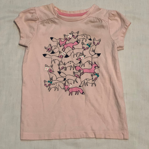 Gymboree light pink tee foxes
