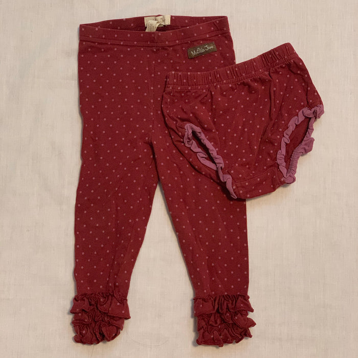 Matilda Jane maroon dress leggings size 18-24M