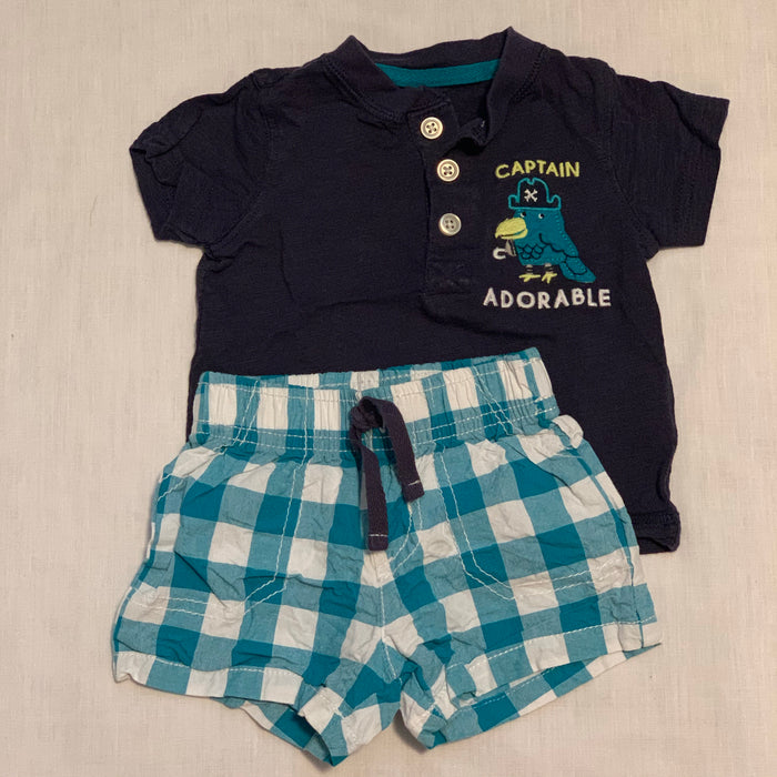 Carters navy blue tee/shorts Size 6M