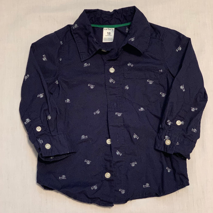 Carters navy blue helicopter shirt size 18M