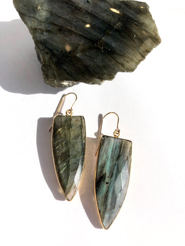 Large Labradorite Dagger Earrings