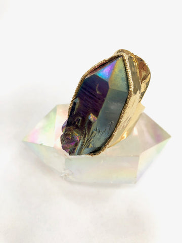 Titanium Rainbow Aura Quartz Ring
