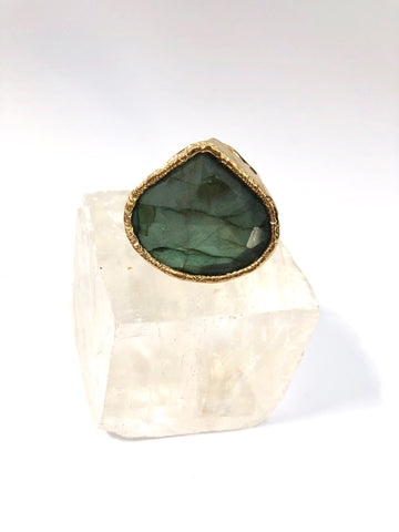 Large Labradorite Teardrop Ring