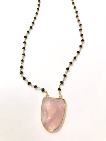 Rose Quartz Crest with an Onyx Chain