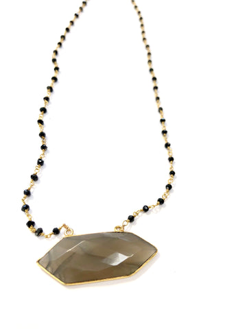 Double Tourmalated Grey Moonstone with Onyx Chain