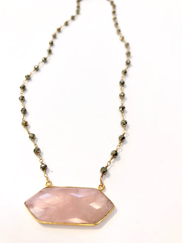 Double Tourmalated Rose Quartz with Pyrite Chain