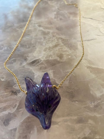 Amethyst Fox Head Necklace