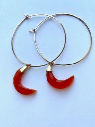 Jumbo Orange Chalceldony Crescent Moon Hoops