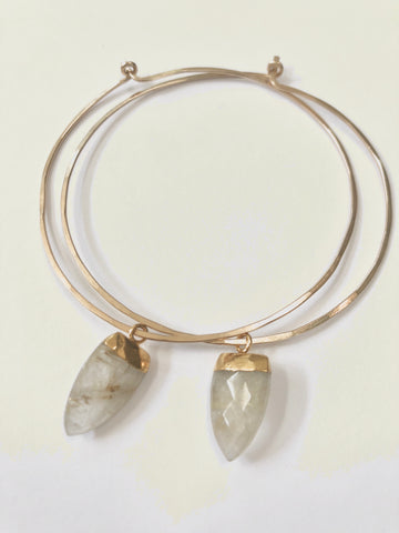 Golden Rutilated Quartz Gemstone Hoops
