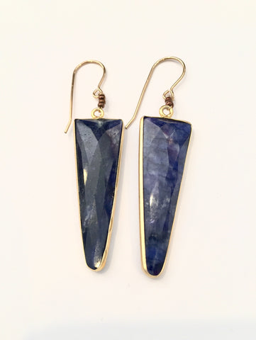 Sapphire Triangle Dagger Earrings