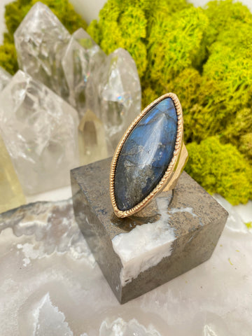 Labradorite Cat's Eye Ring