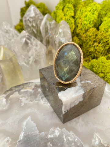Classic Labradorite Faceted Ring