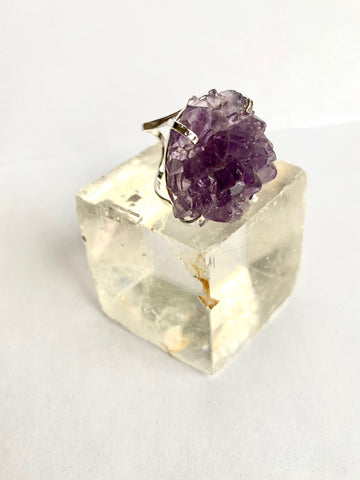 Amethyst Silver Flower Ring