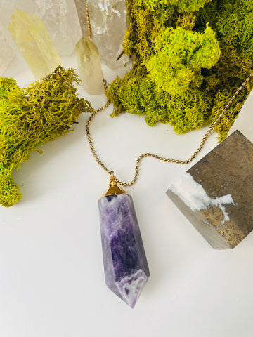 Amethyst Chevron Necklace