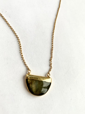 Baby Half Moon Labradorite Necklace