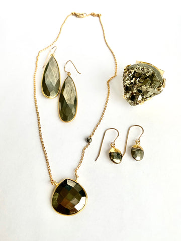 Pyrite Teardrop Necklace