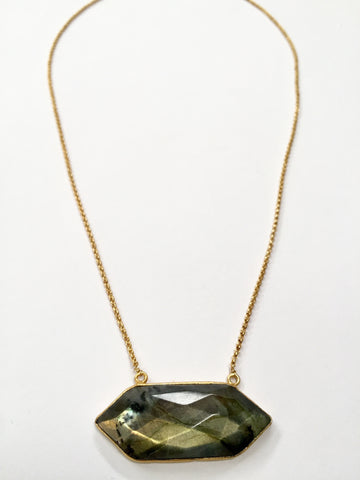 Double Tourmalated Labradorite Pendant