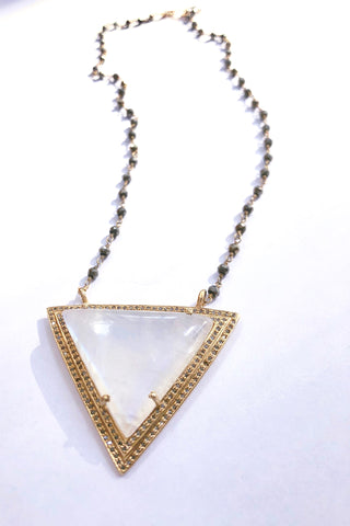 One of Kind Triangle Moonstone and Diamond Necklace